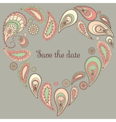 Save the date card with paisley frame vector image