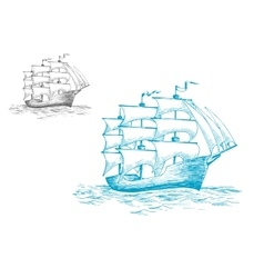 Schooner under full sail on the ocean vector image vector image