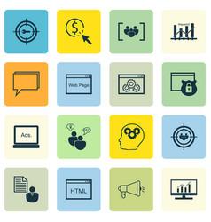 Set of 16 seo icons includes digital media vector