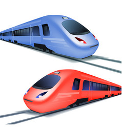 Set of high speed trains isolated on white vector