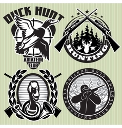 set of hunting label with wild ducks and vector image vector image