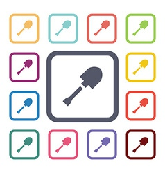 Shovel flat icons set vector
