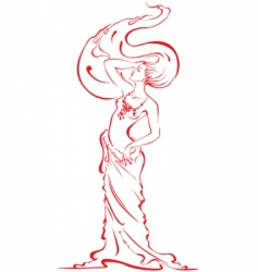 Silhouette of beautiful nude w vector