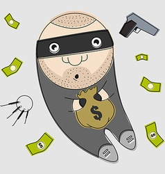 Thief with bag full of money vector