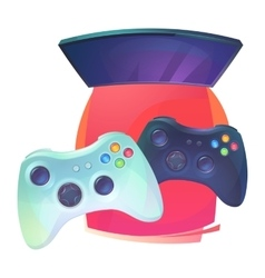 Video games with joystick and tv plasma vector