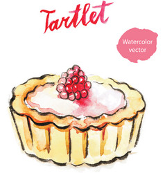 Watercolor hand tartlet with raspberry vector