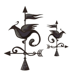 Wrought iron weathervane in form of bird vector