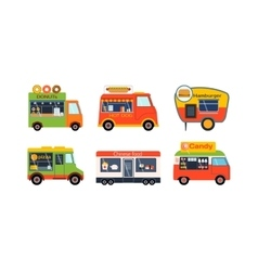 Food truck trailers set vector