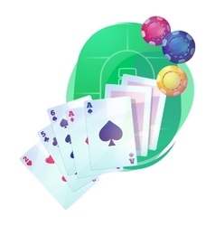 Texas holdem poker game cards and chips over vector