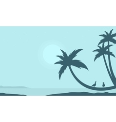 Palm on the beach scenery silhouettes vector