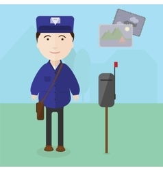 Postman at work near the mailbox vector