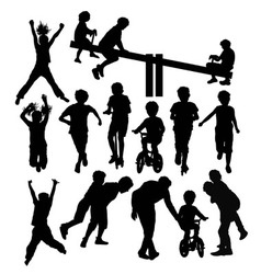 Having fun children activity silhouettes vector