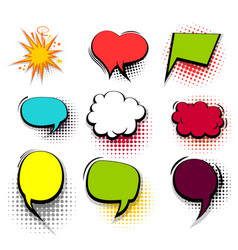 funny set colored comic speech bubble heart burst vector image
