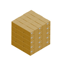 Stack of cardboard boxes isometric icon vector