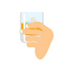 Hand holding whiskey and ice fingers and glass of vector