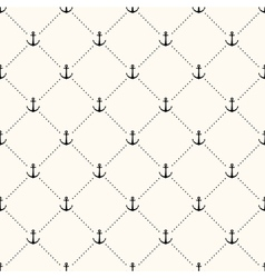 Seamless retro pattern polka dot with anchors vector