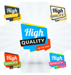 Promotional banner in five color variations flat vector