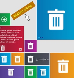 Recycle bin Reuse or reduce icon sign Metro style vector image