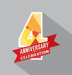 4th Years Anniversary Celebration Design vector image