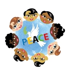 Peace daychildren facespigeonwatercolor blue vector