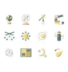 Astronomy flat colored icons vector