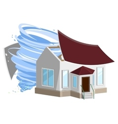 Hurricane destroyed roof of house property vector