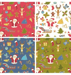 Set of seamless colorful christmas pattern vector
