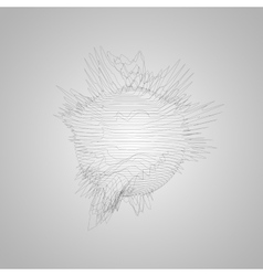 3d distorted wireframe sphere vector