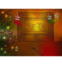 Cozy christmas sketch with a fire place vector