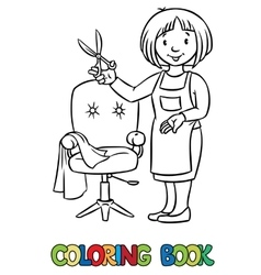 Funny hairdresser coloring book vector