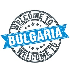 Welcome to bulgaria blue round vintage stamp vector