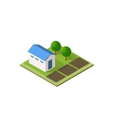 Rural farm in isometric vector image