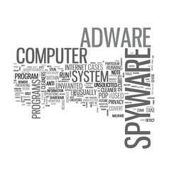 Adware cleaner spyware text word cloud concept vector