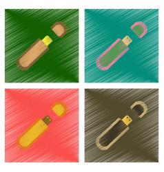 Assembly flat shading style icons flash drive vector