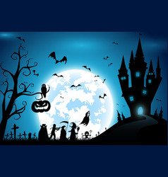 backgroundfestival halloweenfull moon on dark vector image