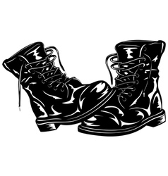 Black army boots vector image