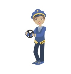 Boy dressed as taxi driver holding car stirring vector