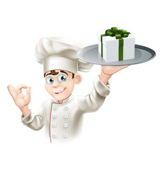 chef giving gift vector image vector image