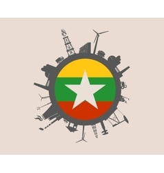 Circle with industrial silhouettes myanmar flag vector