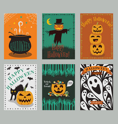 collection of halloween greeting cards vector image vector image