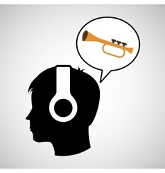 head silhouette listening music trumpet vector image vector image