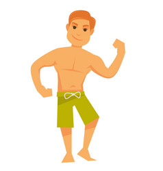 Man showing muscles vector