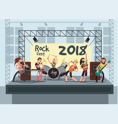 music performance on stage with young musicians vector image