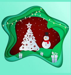 Paper art depth concept of christmas with snowman vector