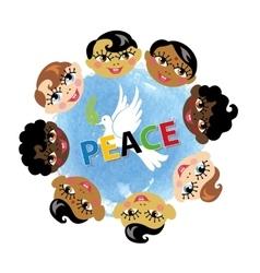 Peace daychildren facespigeonwatercolor blue vector