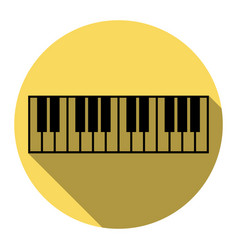 Piano keyboard sign flat black icon with vector