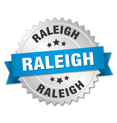 Raleigh round silver badge with blue ribbon vector
