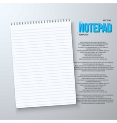 Realistic Notepad Office Equipment White vector image vector image