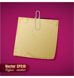 Realistic scrap of paper with clip vector image vector image