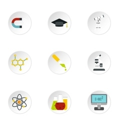 Science education icons set flat style vector